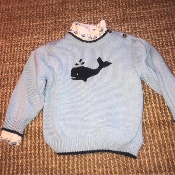 Gymboree Baby Boys Long Sleeve Whale Pullover